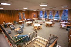 The mezzanine is not wheelchair accessible and therefore does not hold any necessary library materials. Photo by Maddie Malat.