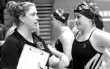 Head coach Talia Butery advises senior captain Jordyn Olson. Photo courtesy of the Concordia Sports Information Office.