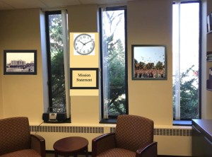 This graphic of Eliason's office shows what Burrell has designated as a wall of time. The wall is meant to represent the history of Concordia . Photo submitted by Corinne Burrell.