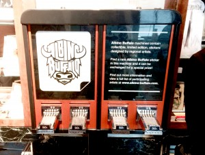 One of Albino Buffalo's sticker dispensers located at Unglued, in Fargo. Photo by Emely Kransvik.