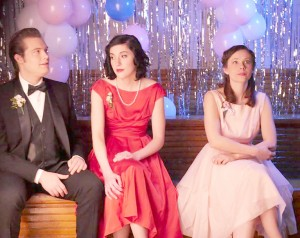 "From left to right: Ben Fink, Alicia Auch and Amber Morgan sit between takes while filming a prom scene in ""Westall."" Submitted by Jared Eischen."