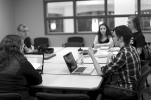 Left to Right: Logan Jorgenson, Cassi Monroe, Karis Baerenwald, and co-presidents Colin Johnson and Madison Lindquist at a weekly splinter group meeting Tuesday night. Photo by Maddie Malat.