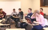 Students in Reber's forecasting class. From left to right: Mark Switajski, Zach Lipp, Tom Dukatz, Phil Manley, Rachel Swedin and Alex Reichle. Photo by Maddie Malat.