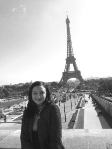 Shelden visits the Eiffel Tower in Paris, France. Summited by Megan Shelden.