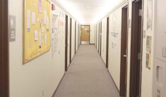 View down the hallway of the gender inclusive floor. Photo by Maddie Malat.