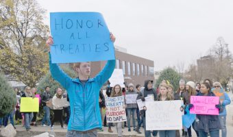 Students march in Fargo, protesting the NoDAPL pipeline. Photo submitted by Micaela Gerhardt.