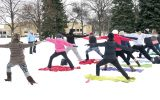 In last year's Frostival community members participate in a session of Snowga. This year, Snowga will be on held on Satur- day, January 28. It will be located at Island Park from 11 a.m. to the end of the Frostival. Courtesy of Frostival.