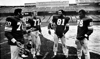 The Minnesota Vikings defensive line in the sixities and seventies was referred to as the Purple People Eaters. From left to right: Jim Mar- shall, Gary Larsen, Carl Eller, Alan Page. Photo Courtsey of WikiMedia Commons.