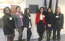 From left to right: Freshman Carolyne Murigu, Senior Utsah Shres- tha, Sophomore Anh Vu, Faculty/Staff Advisor Shan Lu, Freshman Prashansha Maharjan and Senior Mikayla Frey outside of Amy Klobi- char's Washington D.C. office. Photo submitted.