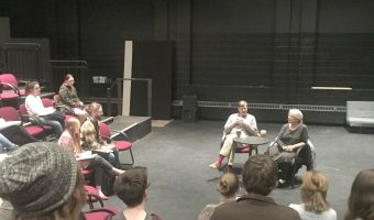 Christian Boy talks with playwright, Mary Zimmerman who hosted a workshop called, The Business of Being an Artist on Monday, March 20, 2017.  Courtesy of Concordia College Theatre Department.