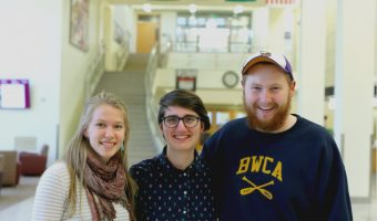 From left to right: Ruth Peterson, Jenna Scarbrough and Oliver Reitan received the Ful- bright award this year. Photo by Maddie Malat.