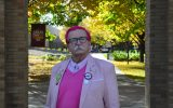 Bruce Vieweg sporting pink. Photo by Bailey Hovland.