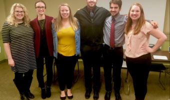 Concordia College students from the science and social work departments after their Opioid Addiction group presentation at West Acres Mall on Wednesday, November 15th. Pictured (left to right): Erin Host, Rebekah Nysetvold, Ashley Nyen, Ali Al Saegh, Cullen Knowles, and Amy Leopold. Photo by Sarah Herlihy.