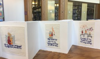 Books created by students on a summer Norway trip are displayed in the library until February 16. Photo by Anna Knutson.