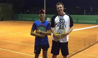 Toivonen (right) still got some play time in Spain, practicing with his boss's nephew, Jorge (left).