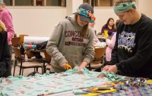 More than 30 students helped make blankets at the Feb. 13 event. Photo by Anna Knutson.
