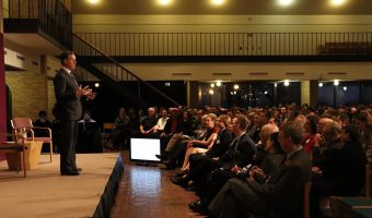 Former Senator Rick Santorum speaks to a full crowd in the Centrum on Tuesday, April 10. Photo by Gretchen Noah.