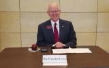 ANNIE WEIER. President Craft at his atrium table on Thursday.