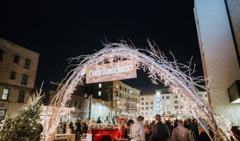 The entrance to the Christkindlmarkt in downtown Fargo. FRIESEN PHOTOGRAPHY.