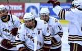 Senior forward Mario Bianchi and his linemates celebrate a goal against UW-Superior.