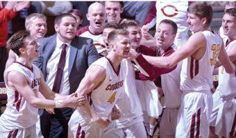 Cobber men's basketball celebrates after Larson's game-winning shot.