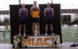 JIM CELLA. Matt Bye stands atop the podium after winning the heptathlon at the MIAC Championship Meet.