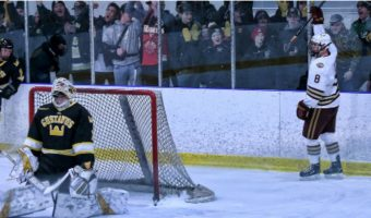 Aaron Herdt celebrates after scoring the game-winning goal against Gustavus last Friday night.