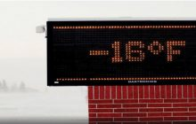 Moorhead elementary school electronic sign shows temperature on Tuesday, Jan. 29.