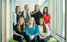 Back: Anna Benson, Mattea Nybo, Jennifer Reinan, Julia Ozaniak Front: Kara Lee, Amanda Zuidema, Samantha Sabin